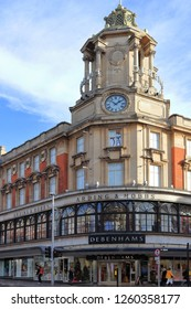 CLAPHAM, LONDON, ENGLAND, UNITED KINGDOM - NOVEMBER 13, 2018: Debenhams department store, Lavender Hill branch located in Clapham Junction, Battersea, Borough of Wandsworth, Greater London.