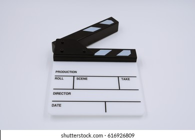 clapper board of production on white background