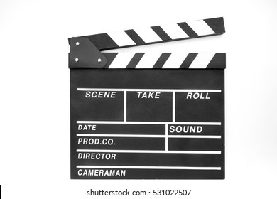 Clapper. Clapboard isolated on white background.