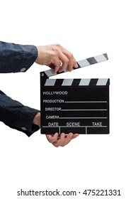 Clapperboard held by hands, isolated on white. A man in a jacket is going to clap the board to sign to start taking a scene of film.