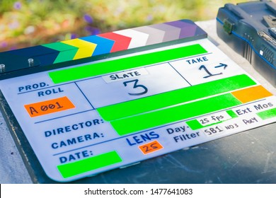 Clapperboard on location used on television and film set productions