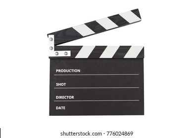 clapperboard on white background