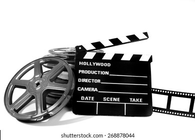 Clapperboard and reels