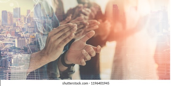 Clapping, Business Event Congratulated the success of the organization. Successful people teamwork. Business corporate,winning,conferences, event ,seminars, brainstorming. Asian worker team.