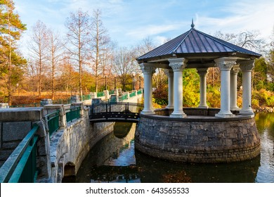 Clara Meer Gazebo and bridge over the Lake Clara Meer in the Piedmont Park in autumn day, Atlanta, USA