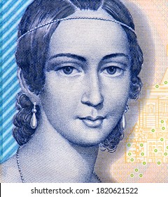 Clara Schumann, German musician and composer, from a lithograph by Andreas Staub, an Austrian watercolour painter and lithographer. Historic buildings of Leipzig. Portrait Germany  Banknote
