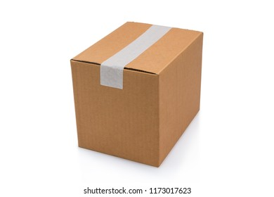 Clardboard box taped up isolated on a white background with clipping path.