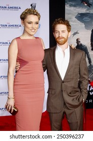 """Clare Grant and Seth Green at the Los Angeles premiere of """"Captain America: The Winter Soldier"""" held at the El Capitan Theatre in Los Angeles, United States on March 13, 2014."""