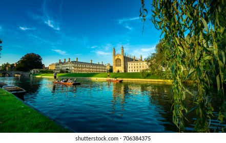 Clare & King's College with beautiful blue sky in Cambridge, UK