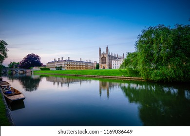 Clare & King's College at sunset in Cambridge, UK