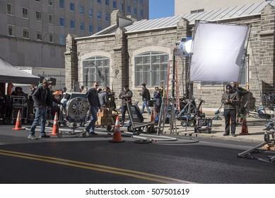 Claremont Av Upper West Side New York USA - October 2016 - Film crew setting up their filming equipment on the sidewalk.