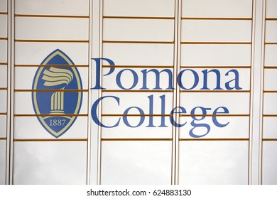 Claremont, CA, USA - April 14, 2017: The sign for Pomona college, a liberal arts college in southern California.