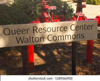 Claremont, California / USA - January 13, 2018: Location sign at the Claremont Colleges for the Queer Resource Center at Walton Commons