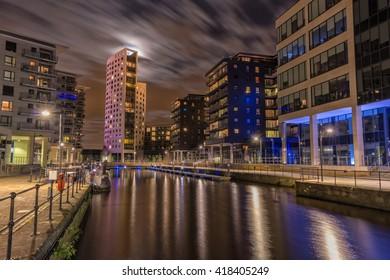 Clarence Dock in Leeds, now known as Leeds Dock in moonlight