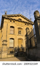 Clarendon Building side view of University of Oxford, Oxford, England on 01.09.2019. It is located next to the Bodleian Library and the Sheldonian Theatre.