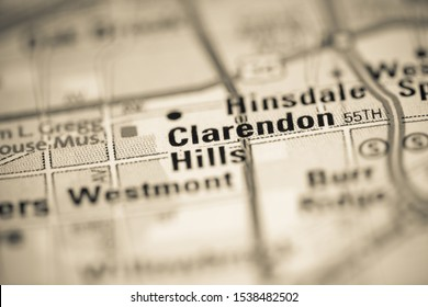 Clarendon Hills on a map of the United States of America