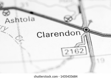 Clarendon. Texas. USA on a map