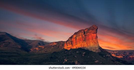 Clarens Golden Gate National Park Landscape at Sunset, Free State, South Africa (Brandwag Rock)