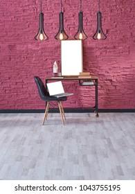 claret red brick wall black decorative lamp home office working desk interior
