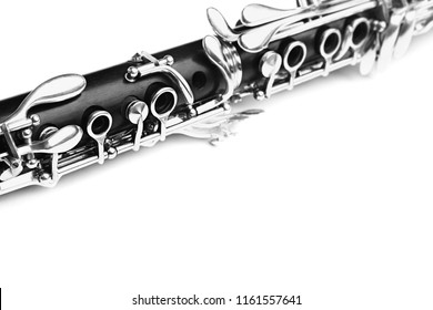 Clarinet classical music instrument. Orchestra woodwind instruments closeup isolated