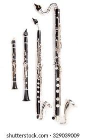 Clarinet family: Eb Clarinet, Bb Clarinet, Basset Horn and Bass Clarinet