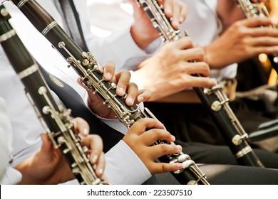 Clarinet player musical performance.