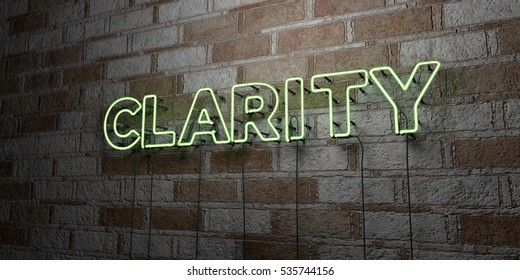 CLARITY - Glowing Neon Sign on stonework wall - 3D rendered royalty free stock illustration.  Can be used for online banner ads and direct mailers.