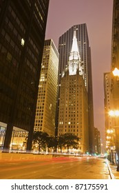 Clark Avenue in Chicago. First United Methodist Church at the Chicago Temple in the center.