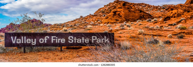 Clark County, NV,USA - January 6, 2019 - The sign at the north entrance to Valley of Fire State Park in the winter.