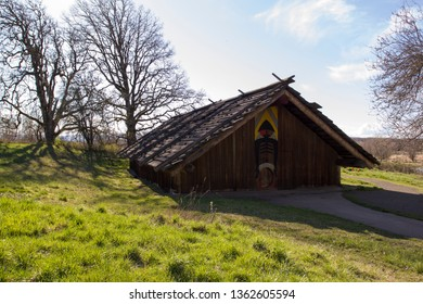 Clark County, WA - Mar 30, 2019: Cathlapotle Plankhouse at Ridgefield National Wildlife Refuge. The Chinookan plankhouse was built based on findings from the archeological village site of Cathlapotle.