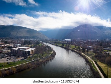 The Clark Fork River in downtown Missoula, Montana.