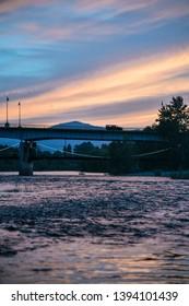 Clark Fork River in Missoula, Montana at Sunset