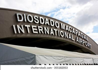 CLARK MANILA, PHILIPPINES -NOVEMBER 21, 2009 : Airport Sinage at Clark International Airport, an international gateway to the Philippines within Clark Freeport Zone, located northwest of Manila.