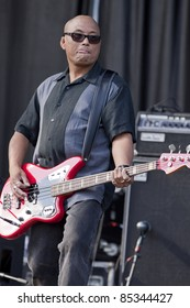 "CLARK, NJ - SEPT 18: ""The Thrilla from Manilla"" bass player Severo Jornacion of the band The Smithereens performs at the Union County Music Fest on September 18, 2011 in Clark, NJ."