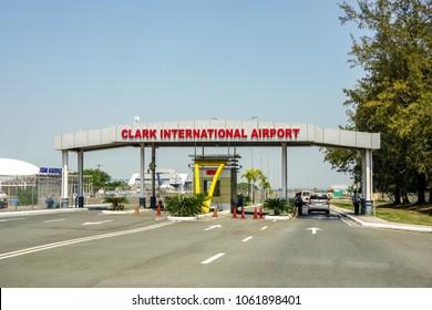 CLARK, PHILIPPINES - Mar 25,2018 Main gate at Clark International Airport, an international gateway to the Philippines within Clark Freeport Zone, located northwest of Manila.