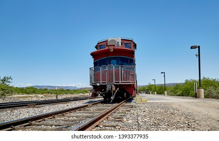 Clarkdale, Arizona, USA - May 4, 2019: Verde Canyon Railroad Caboose Train Car at Train Station