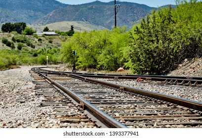 Clarkdale, Arizona, USA - May 4, 2019: Verde Canyon Railroad Train tracks