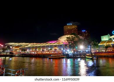 Clarke Quay - Singapore , September 4 2017 - Cityscape Night light of Clarke Quay riverside shopping and leisure complex at Clarke Quay - Singapore