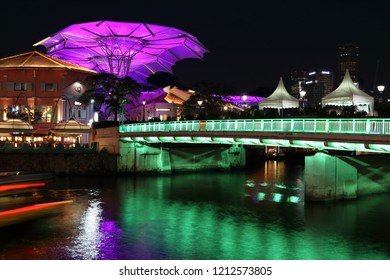 Clarke Quay/Singapore - 19 Oct 2018: Clarke Quay along the Singapore River at night.  Clarke Quay is one of the major areas for night life, food and drinks in Singapore