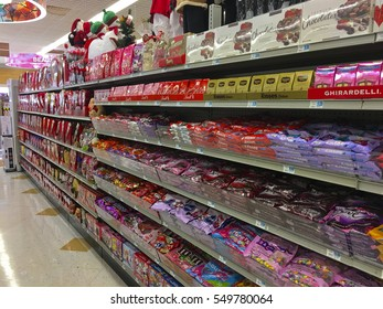 CLARKESVILLE, GA, USA- DECEMBER 30,2016: Rite Aid Drug Store. A Valentines display on the store shelves in a Rite Aid Drug Store, set up 5 days ofter Christmas.