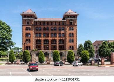 CLARKSBURG, WV - 15 JUNE 2018: Waldo Hotel historic building in Clarksburg, West Virginia