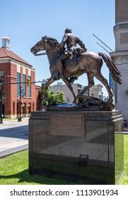 CLARKSBURG, WV - 15 JUNE 2018: Statue of Stonewall Jackson who was born in Clarksburg, West Virginia
