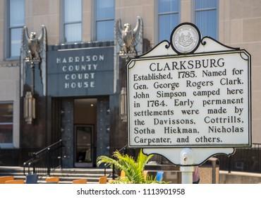 CLARKSBURG, WV - 15 JUNE 2018: Harrison County Court House historic building in Clarksburg, West Virginia