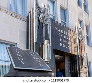 CLARKSBURG, WV - 15 JUNE 2018: Carving of Ten Commandments outside Court House in Clarksburg, West Virginia