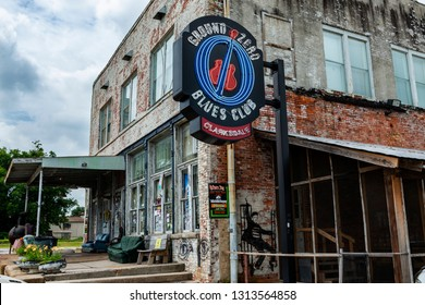 Clarksdale, Mississippi, USA - June 23, 2014: The facade of the famous Ground Zero Blues Club in Clarksdale, Mississippi, USA.