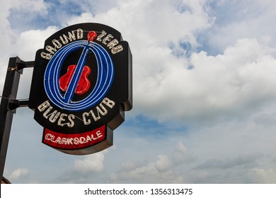 Clarksdale, Mississippi, USA - June 23, 2014: The neon sign of the famous Ground Zero Blues Club in Clarksdale, Mississippi, USA.