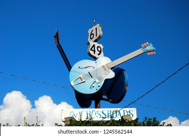 Clarksdale, MS, USA July 20, 2010 The legendary Crossroads,the intersection of Routes 49 and 61 in Clarksdale, Mississippi, was made famous by blues and rock musicians.
