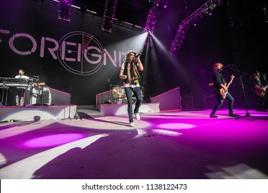 Clarkston, MI / USA – July 15, 2018: Foreigner performs at DTE Energy Music Theater on their Juke Box Heroes tour.