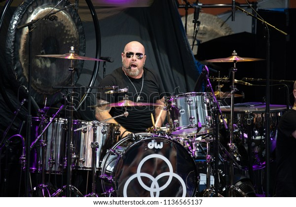 Clarkston, MI / USA - July 15, 2018: Jason Bonham's Led Zeppelin Evening performs for a Detroit audience and in support of White Snake and Foreigner's 2018 summer tour.