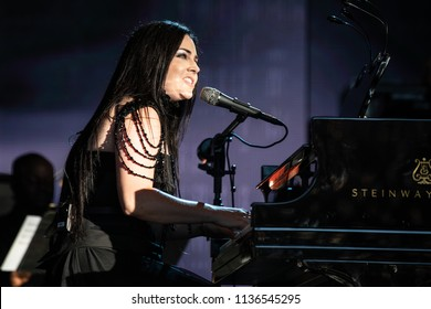 Clarkston, MI / USA - July 9, 2018: Amy Lee of Evanescence, on tour with Lindsey Stirling, performs at DTE Energy Music Theatre.